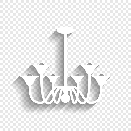 chandelier background: Chandelier simple sign. Vector. White icon with soft shadow on transparent background.