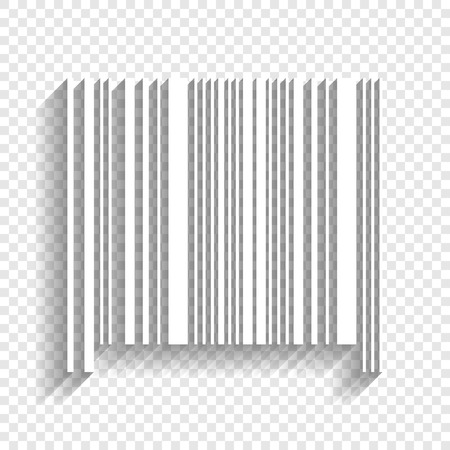 Bar code sign. Vector. White icon with soft shadow on transparent background. Vektorové ilustrace