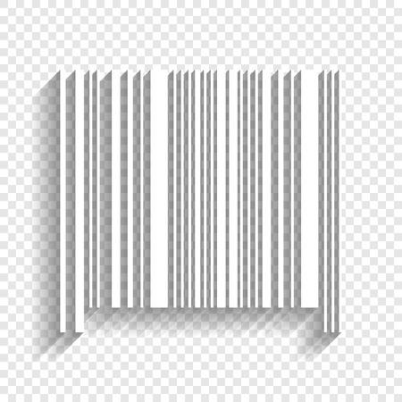 Znak kodu kreskowego. Wektor. Biała ikona z miękkim cieniem na przezroczystym tle. Ilustracje wektorowe