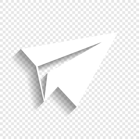 Paper Airplane Sign Vector White Icon With Soft Shadow On Transparent Background Stock