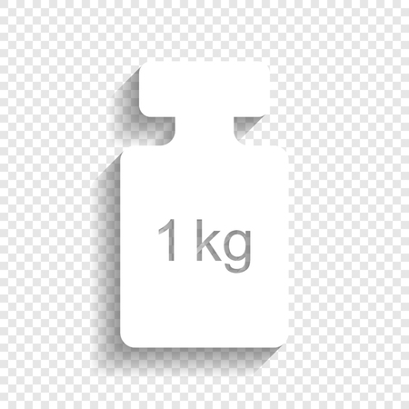 Weight simple sign. Vector. White icon with soft shadow on transparent background.