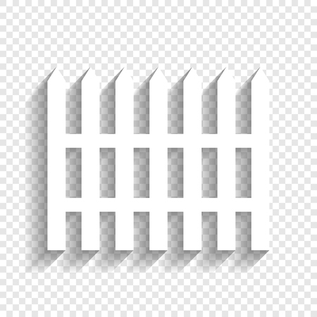 Fence simple sign. Vector. White icon with soft shadow on transparent background. Illustration