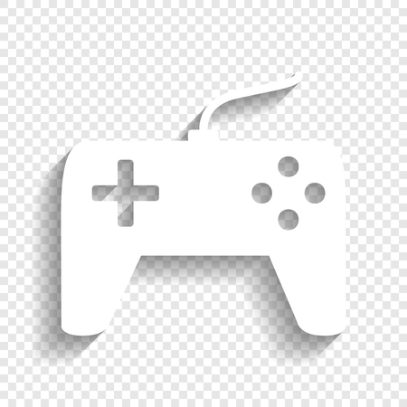 Joystick simple sign. Vector. White icon with soft shadow on transparent background.