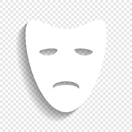 comedy: Tragedy theatrical masks. Vector. White icon with soft shadow on transparent background.