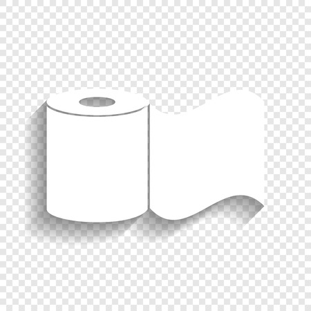 Toilet Paper sign. Vector. White icon with soft shadow on transparent background.