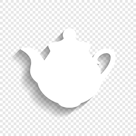 prepare: Tea maker Kitchen sign. Vector. White icon with soft shadow on transparent background.