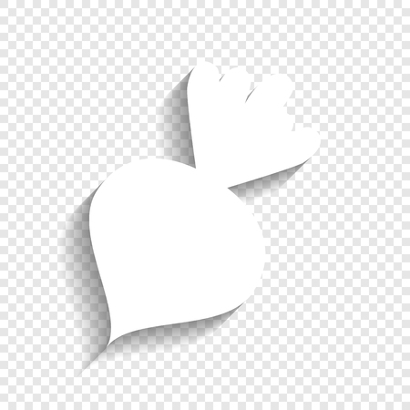 Beet simple sign. Vector. White icon with soft shadow on transparent background.