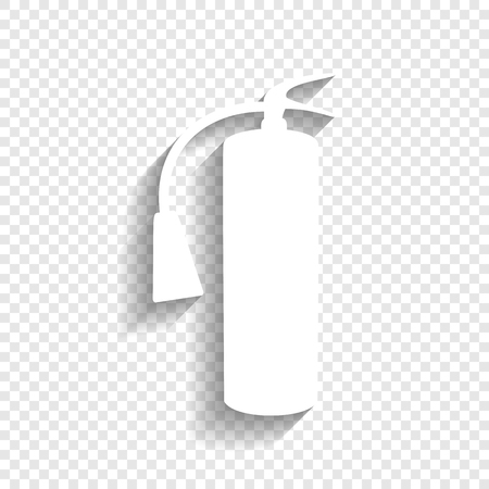 Fire extinguisher sign. Vector. White icon with soft shadow on transparent background. Ilustração