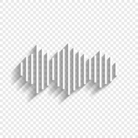 Sound waves icon. Vector. White icon with soft shadow on transparent background.