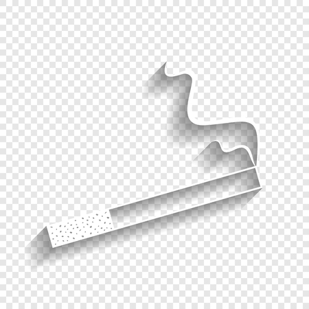 habit: Smoke icon great for any use. Vector. White icon with soft shadow on transparent background. Illustration