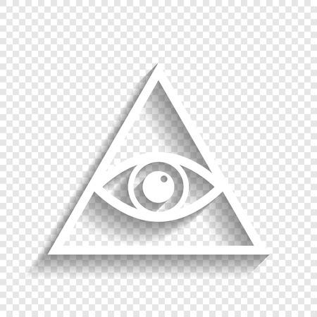 Alles sehende Auge Pyramidensymbol. Freimaurer und spirituell. Vektor. Weiße Ikone mit weichem Schatten auf transparentem Hintergrund.