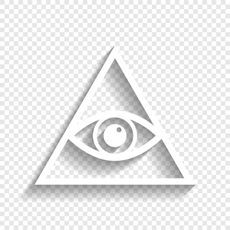 Todo símbolo de la pirámide del ojo que ve. Masón y espiritual. Vector. Icono blanco con suave sombra sobre fondo transparente.