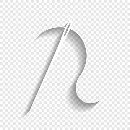 Aiguille avec du fil. Aiguille à coudre, aiguille à coudre. Vecteur. Icône blanche avec une ombre douce sur un fond transparent.