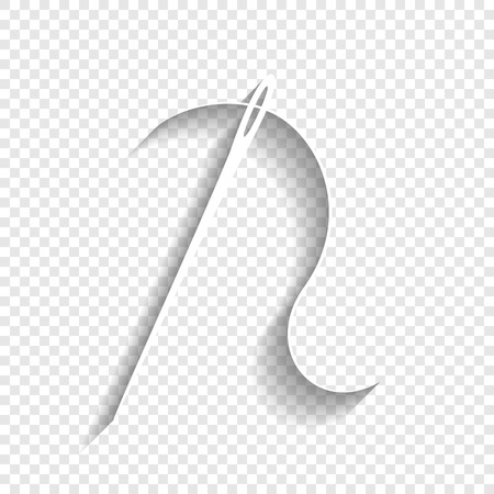 Needle with thread. Sewing needle, needle for sewing. Vector. White icon with soft shadow on transparent background.