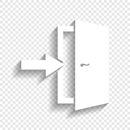문 출구 기호입니다. 벡터. 투명 한 배경에 부드러운 그림자와 흰색 아이콘입니다.