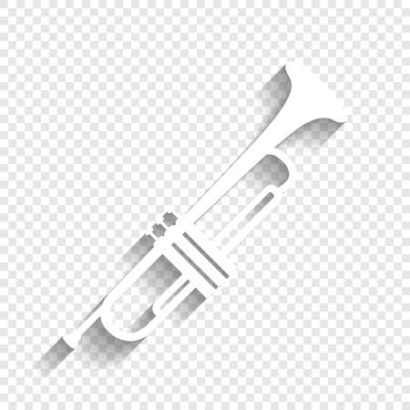 Musical instrument Trumpet sign. Vector. White icon with soft shadow on transparent background.