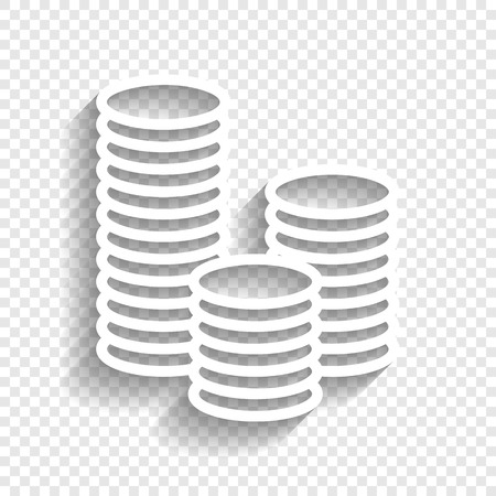 soft sell: Money sign illustration. Vector. White icon with soft shadow on transparent background.