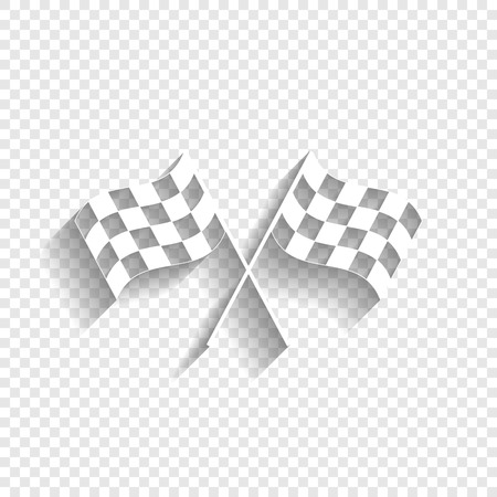 Crossed checkered flags logo waving in the wind conceptual of motor sport. Vector. White icon with soft shadow on transparent background.
