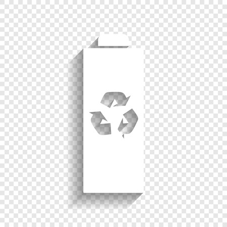 indicator panel: Battery recycle sign illustration. Vector. White icon with soft shadow on transparent background.