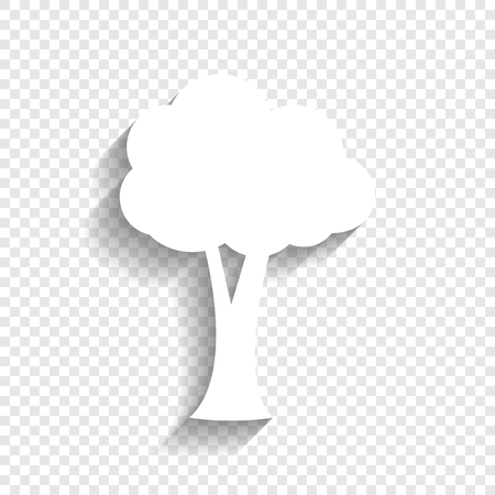 Tree sign illustration. Vector. White icon with soft shadow on transparent background.