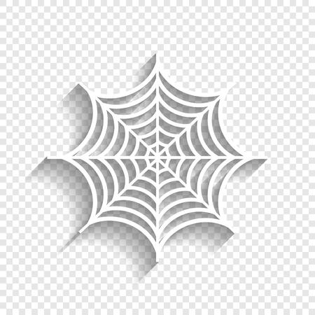 Spider op web illustratie. Vector. Wit pictogram met zachte schaduw op transparante achtergrond.