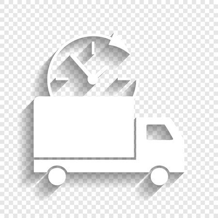 Delivery sign illustration. Vector. White icon with soft shadow on transparent background.