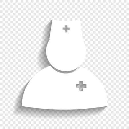 emergency cart: Doctor sign illustration. Vector. White icon with soft shadow on transparent background.