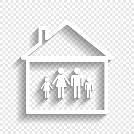 Illustrazione del segno di famiglia isolato. icona bianca con morbida ombra su sfondo trasparente Vettoriali