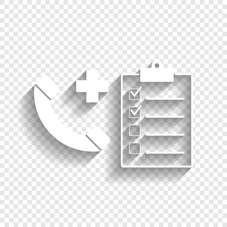 emergency cart: Medical consultation sign. Vector. White icon with soft shadow on transparent background. Illustration