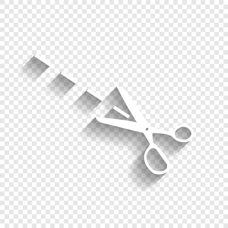 Scissors sign illustration. Vector. White icon with soft shadow on transparent background.