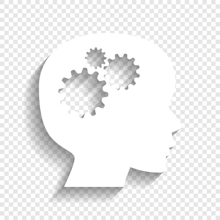 Thinking head sign. Vector. White icon with soft shadow on transparent background.