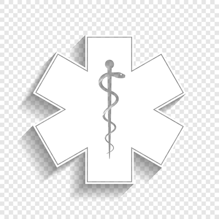 Medical symbol of the Emergency or Star of Life with border. Vector. White icon with soft shadow on transparent background.