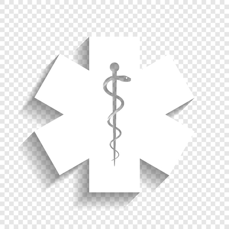 Medical symbol of the Emergency or Star of Life. Vector. White icon with soft shadow on transparent background.