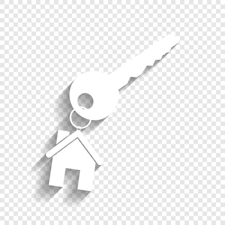 key with keychain as an house sign. Vector. White icon with soft shadow on transparent background.