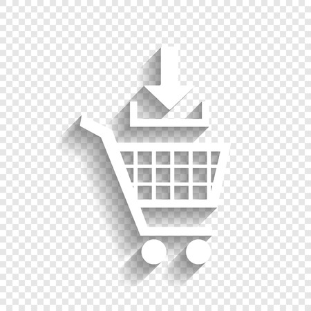 soft sell: Add to Shopping cart sign. Vector. White icon with soft shadow on transparent background. Illustration
