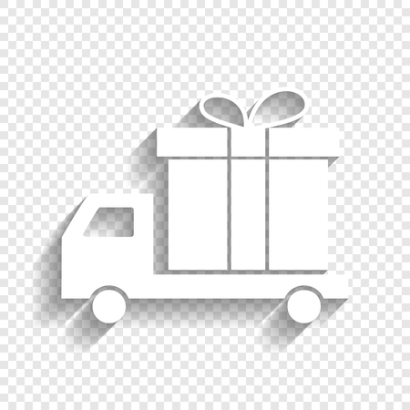 Delivery gift sign. Vector. White icon with soft shadow on transparent background.