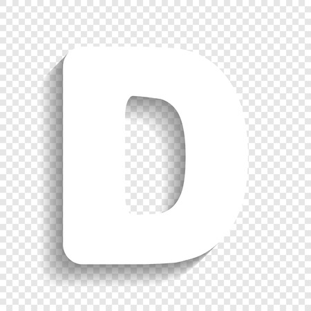 letter d sign design template element vector white icon with soft shadow on transparent