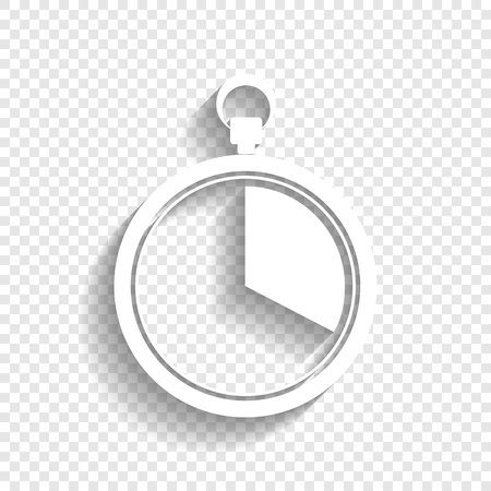 The 20 seconds, minutes stopwatch sign. Vector. White icon with soft shadow on transparent background.