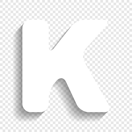 typescript: Letter K sign design template element. Vector. White icon with soft shadow on transparent background.