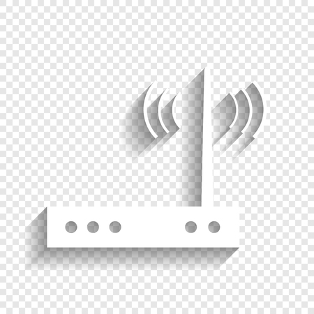 hub computer: Wifi modem sign. Vector. White icon with soft shadow on transparent background. Illustration