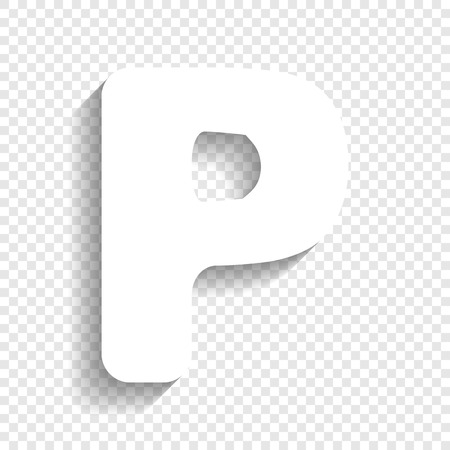 typescript: Letter P sign design template element. Vector. White icon with soft shadow on transparent background. Illustration