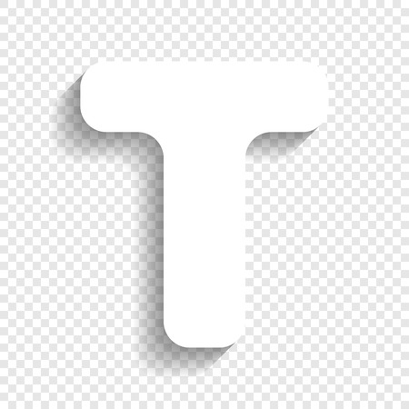letter t sign design template element vector white icon with soft shadow on transparent