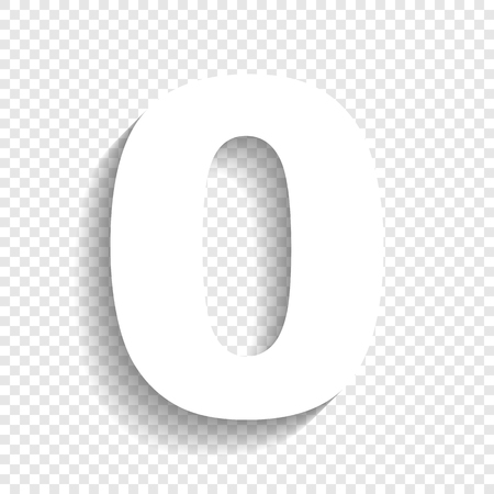 Number 0 sign design template element. Vector. White icon with soft shadow on transparent background. Illustration