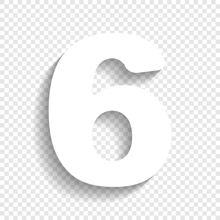 cipher: Number 6 sign design template element. Vector. White icon with soft shadow on transparent background.