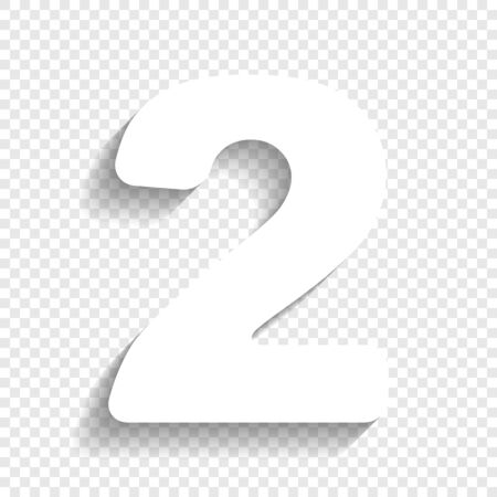 Number 2 sign design template elements. Vector. White icon with soft shadow on transparent background. Иллюстрация