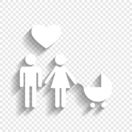 approach: Family symbol with pram and heart. Husband and wife are kept each others hands. Love. Vector. White icon with soft shadow on transparent background.