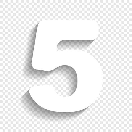 Number 5 sign design template element. Vector. White icon with soft shadow on transparent background.