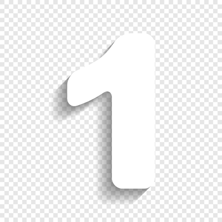 Number 1 sign design template element. Vector. White icon with soft shadow on transparent background. Vettoriali