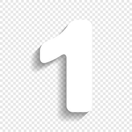 Nummer 1 teken ontwerp sjabloon element. Vector. Wit pictogram met zachte schaduw op transparante achtergrond.