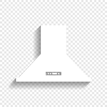 Exhaust hood. Kitchen ventilation sign. Vector. White icon with soft shadow on transparent background. Stock Illustratie